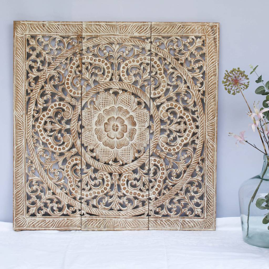 Hand Carved Wall Panel Design Ornamento Colour Whitewash Diffe Sizes
