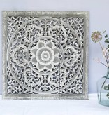 Handgeschnitztes Wandpaneel Design ORNAMENTO, Farbe: greywash, verschiedene Abmessungen