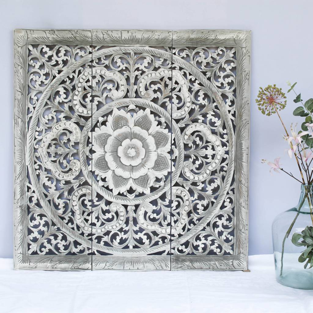 Hand carved wall panel Design ORNAMENTO, colour: greywash, different sizes