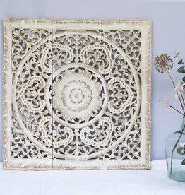 Handgeschnitztes Wandpaneel Design ORNAMENTO, Farbe: antikweiss, verschiedene Abmessungen