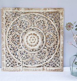 Houten wandpaneel ORNAMENTO between white