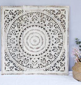 Hand carved wall panel Design SOLE antique white