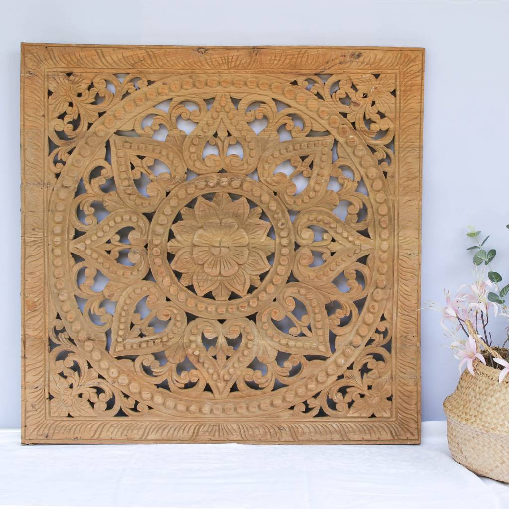 Handgesneden houtsnijwerk wandpaneel Design SOLE Kleur: Naturel, verschillende afmetingen