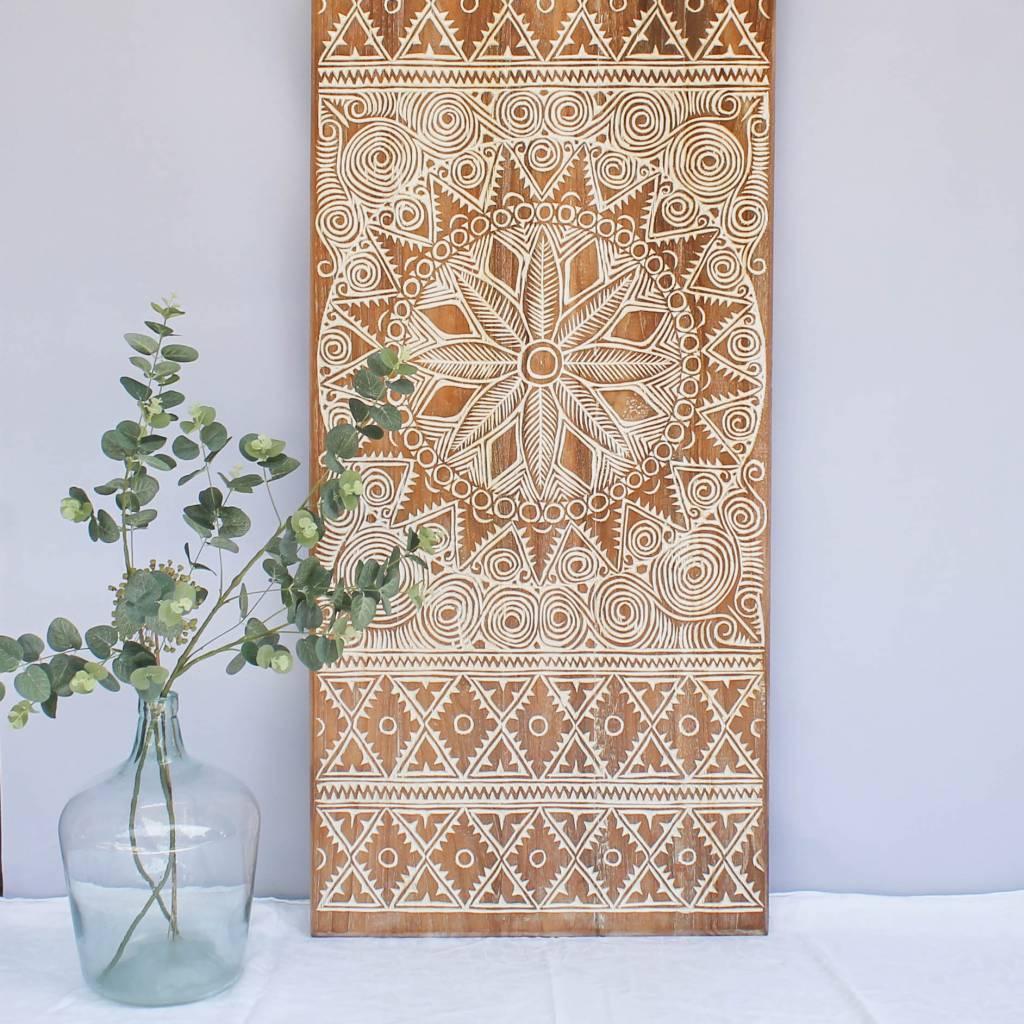 Houtsnijwerk wandpaneel NEW TIMOR, langwerpig ( 150x60 cm), kleur: natural white
