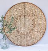 Geschnitzte Wandpaneele TIMOR, rund ( verschiedene Durchmesser, Farbe: Natur/Weiss - Copy