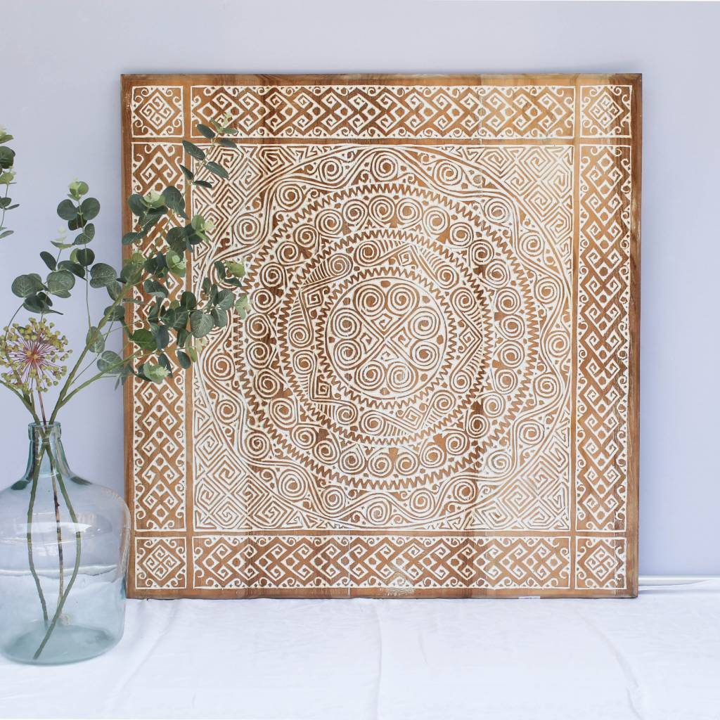 Houtsnijwerk wandpaneel TIMOR, vierkant ( verschillende afmetingen), kleur: natural white