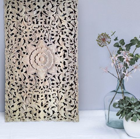 Hand carved wall panel LOTO RETTANGOLO, different colours and designs available
