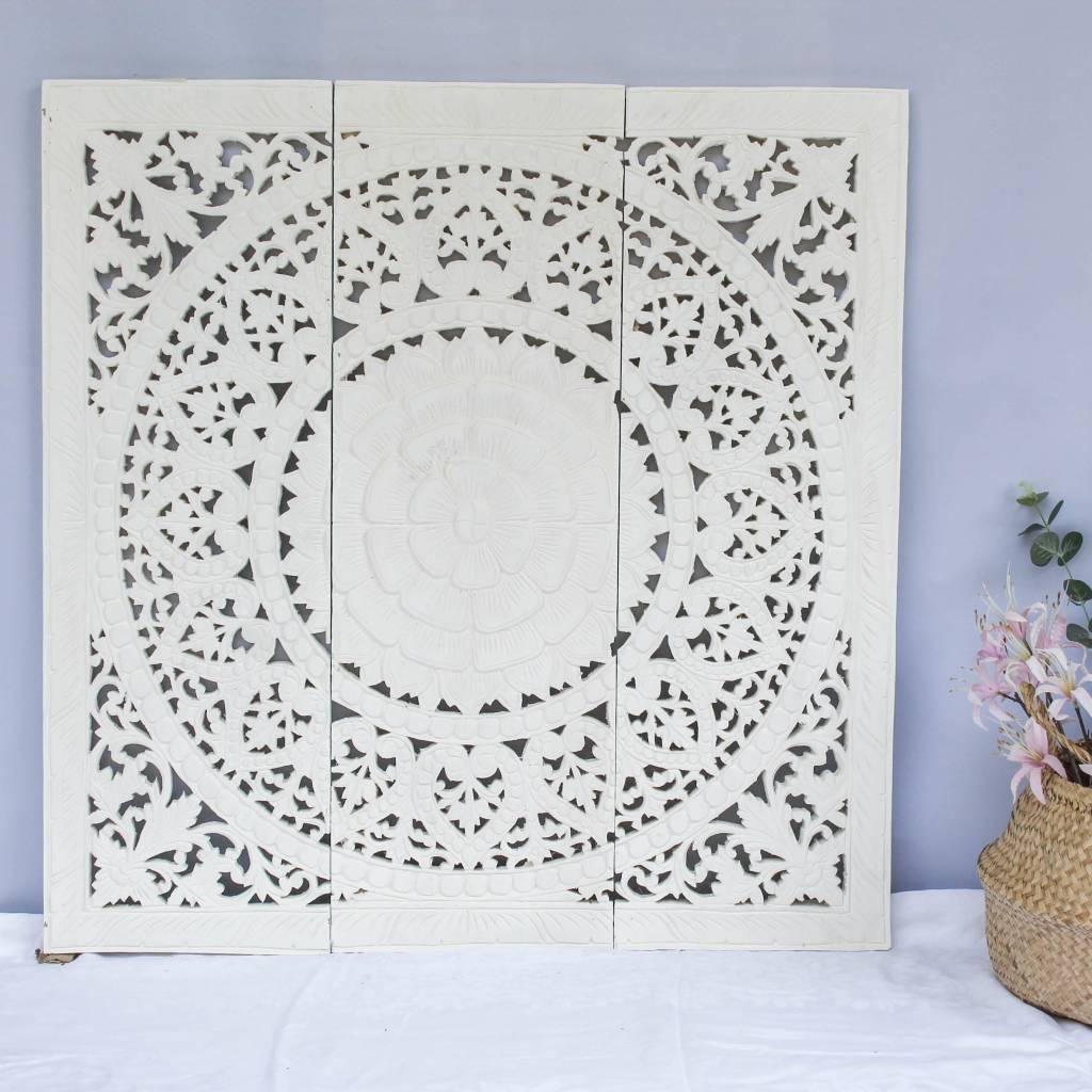 Houtsnijwerk wandpaneel Design SOLE Kleur: Wit, verschillende afmetingen