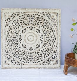 Hand carved wall panel Design LOTO antique white