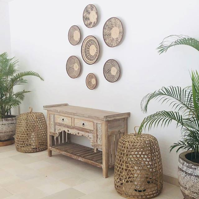 Handcrafted binga basket sets from Simbabwe as wall decoration