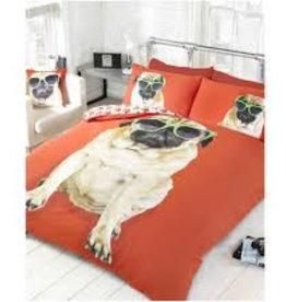 Doghouse Designs Mopshond Rood Dekbedovertrek