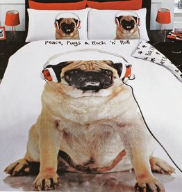 Urban Unique Pug Hond Rock n Roll Dekbedovertrek Tweepersoon