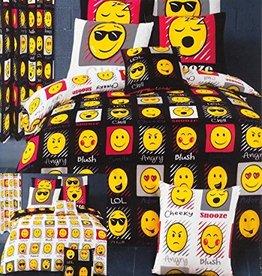 Emoji Emoji Tweepersoons Dekbedovertrek Expressions Zwart