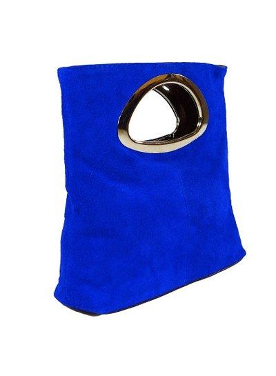 Carelli Italia Suede Clutch Milano Koningsblauw