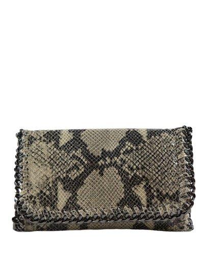 Carelli Italia Schoudertas/clutch Luzzara Beige met slangenprint en bijzondere schouderband