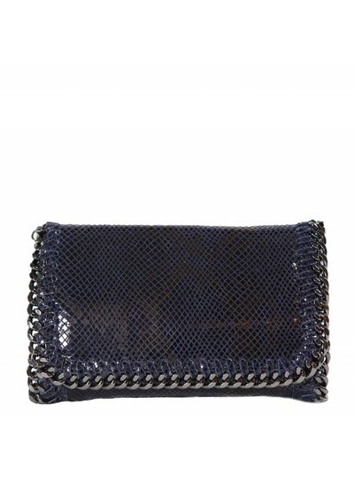 Carelli Italia Schoudertas/clutch Luzzara Donkerblauw met slangenprint en bijzondere schouderband