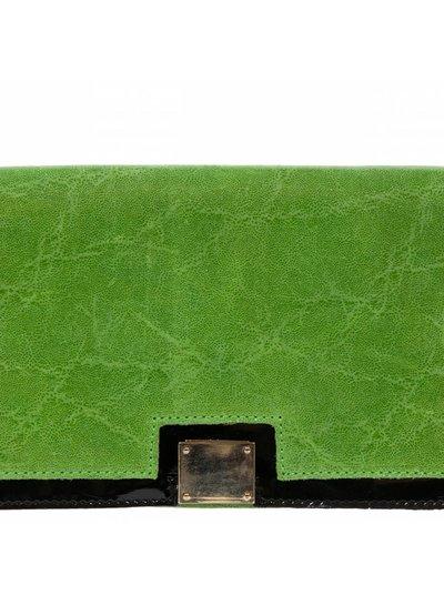 Carelli Italia Schoudertas Savogna groen met zwart lakleer