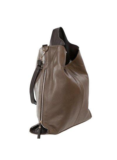 Carelli Italia Shopper Treglio bruin met ritsen aan de zijkant van de tas