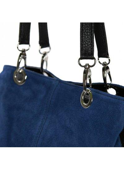 Carelli Italia Suede Schoudertas Treviso Jeans Blauw