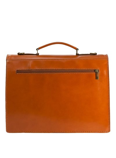 Carelli Italia Leren Laptoptas Bologna Oranje