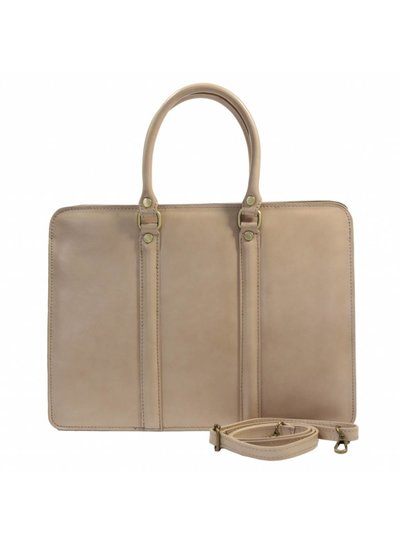 Carelli Italia Leren dames laptoptas Sorrento Beige