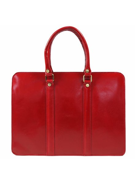 Carelli Italia Leren dames laptoptas Sorrento Rood