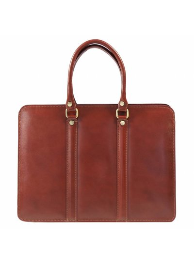 Carelli Italia Leren laptoptas Sorrento Cognac