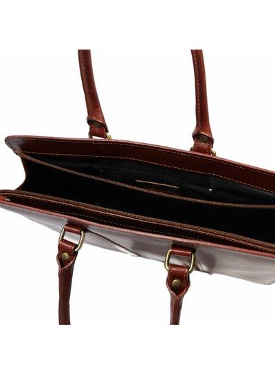 Carelli Italia Leren dames laptoptas Sorrento Cognac