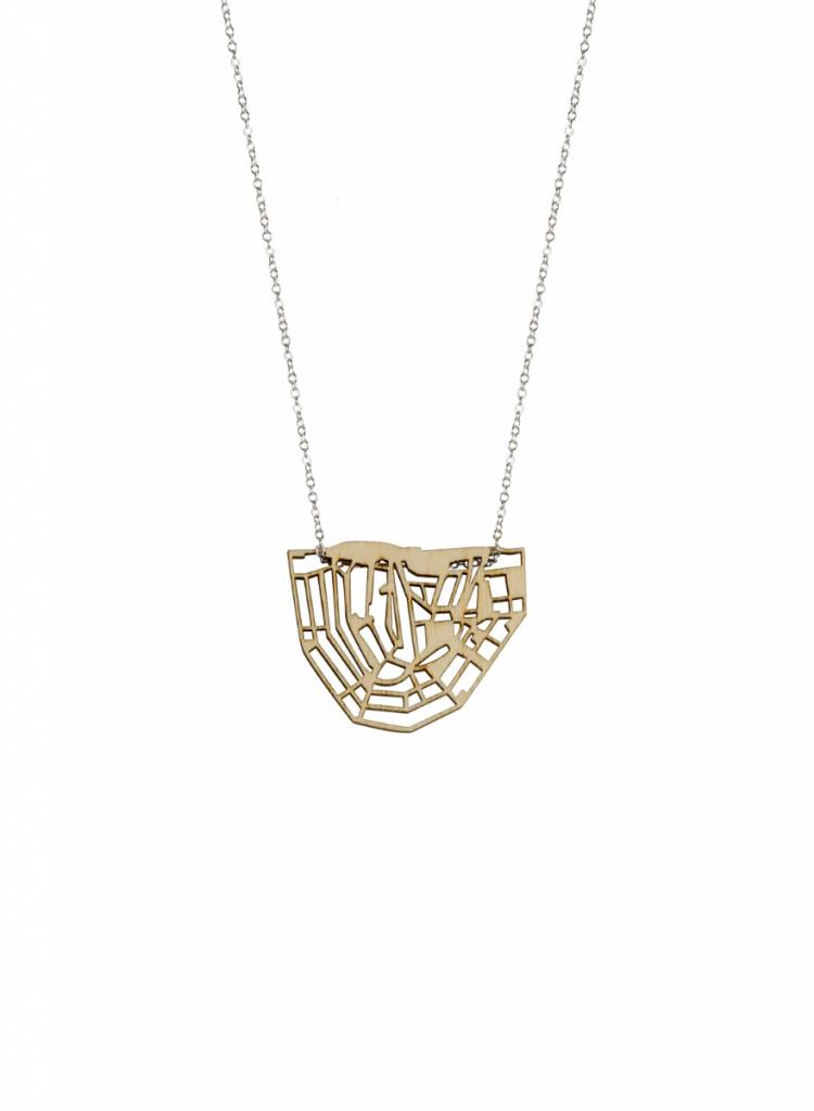 cre8 canal chain necklace wood