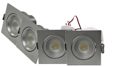 Led set 4 inbouwspots 4w chroom vierkant