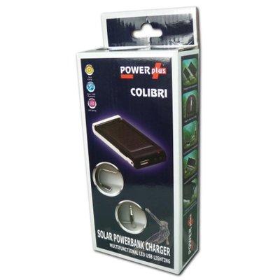 Powerplus Colibri draagbare Solar Powerbank oplader met zaklamp.