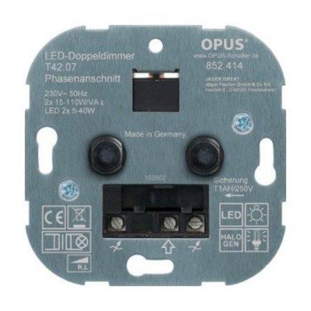 Opus Duo inbouwdimmer (voor led- en spaarlampen-faseaansnijding) - 5-110W/VA