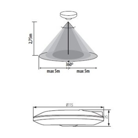 Kanlux LED PIR Bewegingssensor - Opbouw - Vlak (max. 2000W)