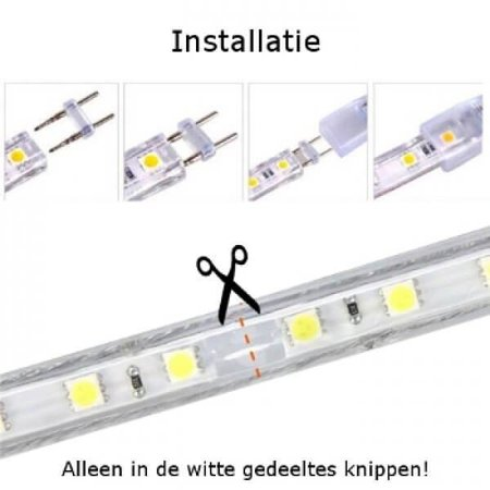 QUALEDY® LED Strip 230V - Blauw - 10W/m - 60xSMD5050/m - 1m - 300Lm/m - IP66