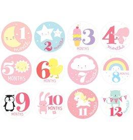 Milestone stickers: Little girls