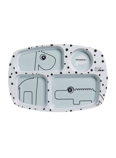 Happy Dots Divided Plate Friends Blue