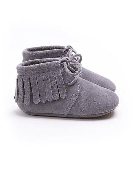 Mockies Boots Suede Fringe Grey