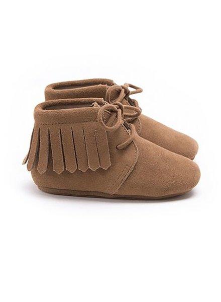 Mockies Boots Suede Fringe Camel