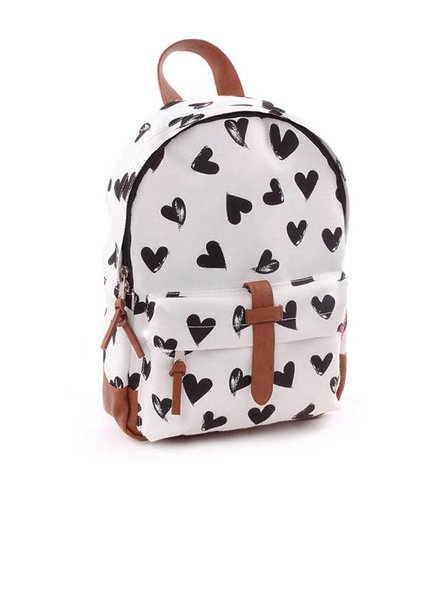 Kidzroom Rugzakje Zipper Black & White Hearts
