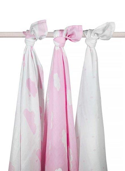 Jollein Hydrofiele Multidoek 115x115 Clouds Pink