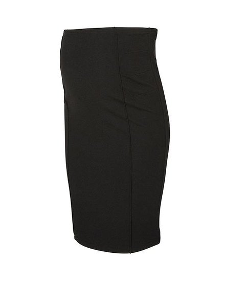 Mama Licious Luna Jersey Pintuc Skirt Black