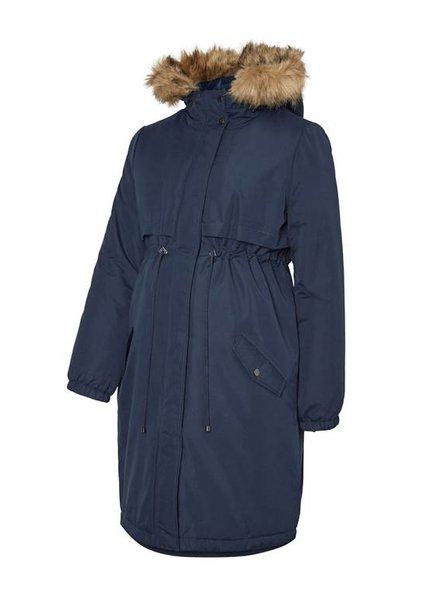 Mama Licious Jessie Parka Coat Navy Blazer