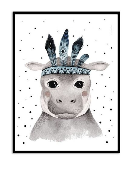 Kreativitum KIDS Poster Feather Hippo 30x40 cm