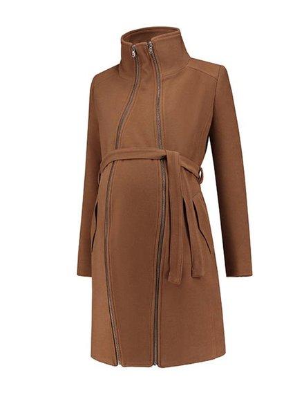 Love2Wait Coat Double Zipper Camel