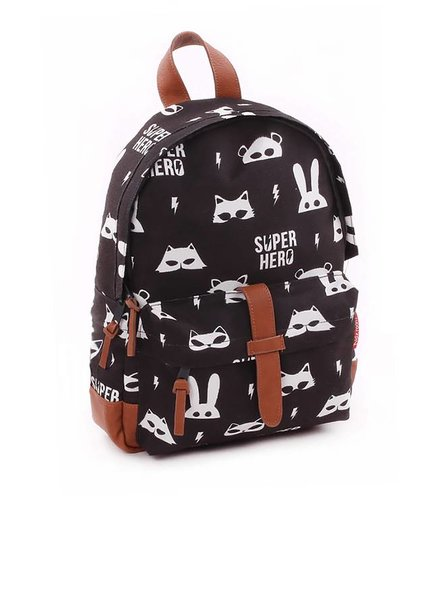 Kidzroom Rugzakje Zipper Black & White Super Hero