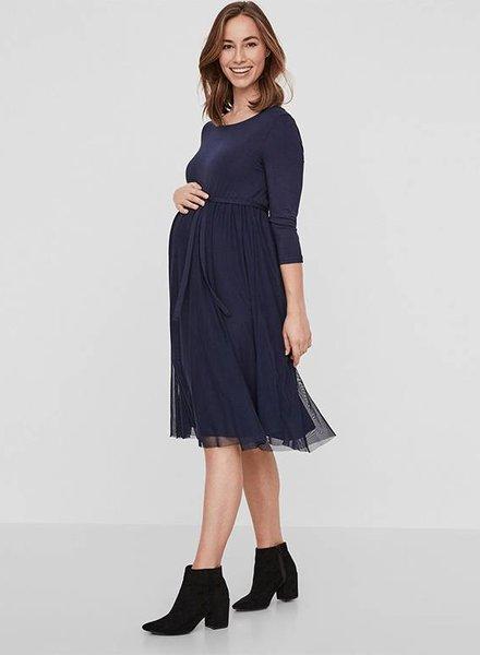 Mama Licious Bianka 3/4 Knee Dress Blue