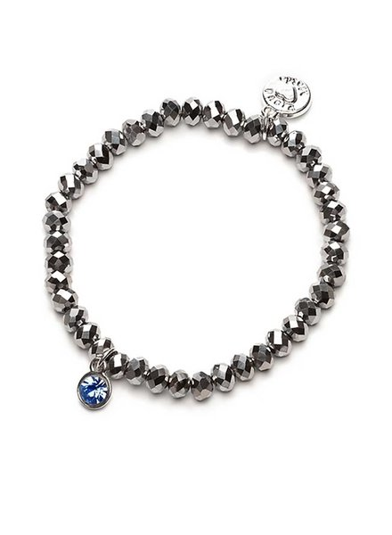 Proud Mama Armband Charm Zilver Blauw