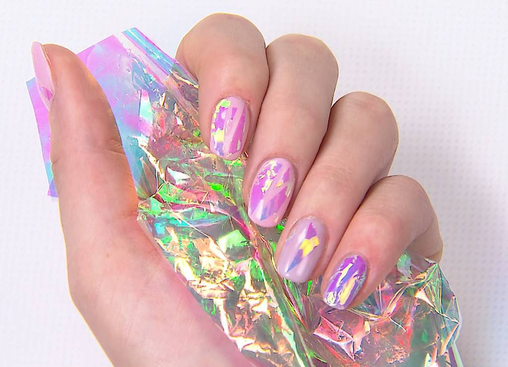 Pink Pretty Nail Art Foil - holographic nails