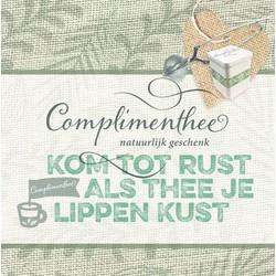 """Geschenkset voorzien van 3 door U geselecteerde thee melanges met wikkel """"Kom tot rust als thee je lippen kust"""" VANAF"""