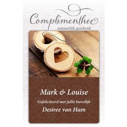 """Geschenkset voorzien van persoonlijke boodschap """"Houten hart"""" met 6 door U geselecteerde thee melanges VANAF"""